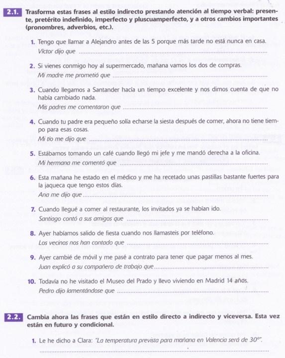 El Estilo Indirecto Ejercicios 1 La Galère Espagnole